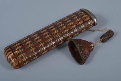 K8532: Japanese Old Bamboo Glass case Kiseru SMOKING PIPE CASE Netsuke Inro