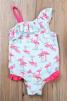 NWT Girls Blue Flamingo Ruffle Swimsuit Bathing Suit 2T 3T 4T 5T 6