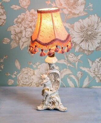Cute Antique Dresden Porcelain Cherub Lamp with Gilded Accents