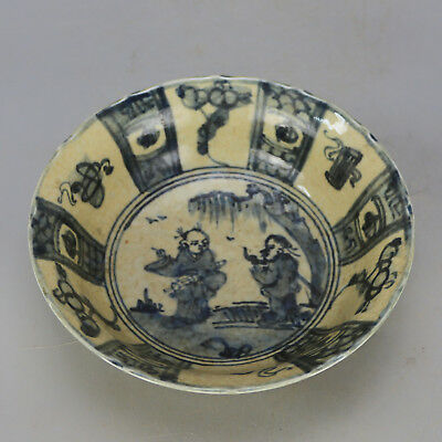 Chinese old hand-carved Blue & white porcelain figure pattern bowl c02