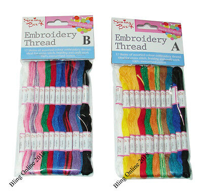 Embroidery Thread Pack Of 12 Skeins Assorted Colours Cross Stitch Braiding Craft