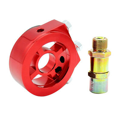 Car Auto Oil Filter Relocation Sandwich Plate Adapter Kit AN-10 Fitting Red