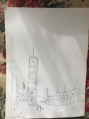 Orginal Pencil Drawing  Blyth Lighthouse Vintage Signed L S Lowry