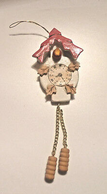 Vintage White Wooden Cuckoo Clock Ornament