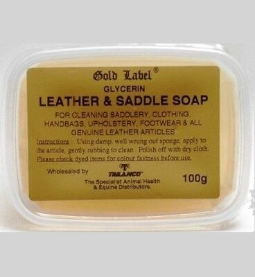 Gold Label Saddle Soap 100 Gm Glycerin Cleaning Leather Horse Care & Grooming