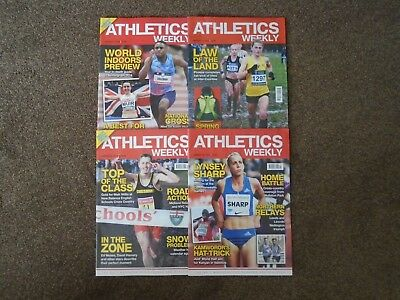 4 x ATHLETICS WEEKLY MAGAZINES-MARCH 2018 EDITIONS-EXCELLENT CONDITION