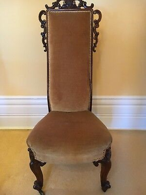 Attractive Antique Victorian  High Back Prayer Chair  re- upholstered in gold