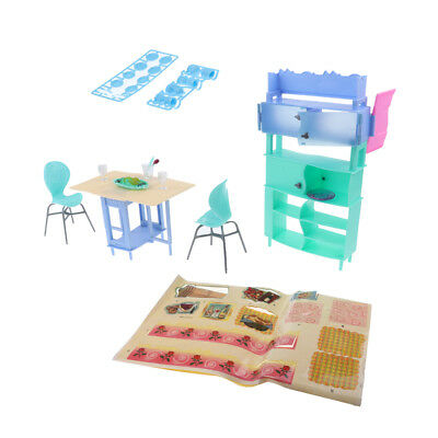 For Barbie Doll House Dining Room Table Chairs Furniture Kit Pretend Playset