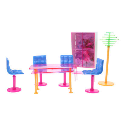 For Barbie Doll House Dining Room Furniture Table Chairs Set Pretend Play