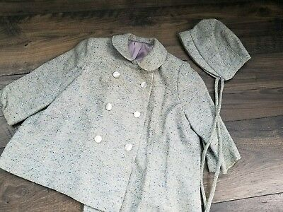 Antique Vintage S.J Buchman baby wool coat and bonnet blue and purple lined