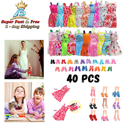 Doll Fashion Clothes Shoes Dress Up For Barbie Doll Handmade Outfit 20 Pack
