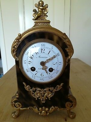 Antique Clock- Maniere type Boule Working Order (25cm height)
