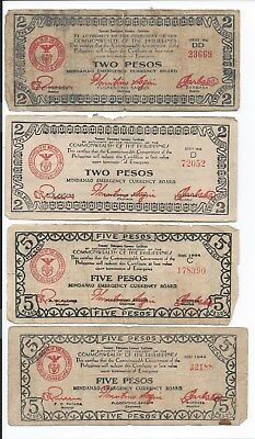 Philippines 7 different Banknotes WWII