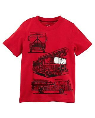 New Carter's Red Fire Truck Graphic Tee Boys NWT 2t 3t 4t 5t Short Sleeves Red