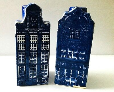 """VINTAGE DELFT BLUE SALT & PEPPER SHAKERS * ROW HOUSES *  4"""" TALL w/ STOPPERS"""