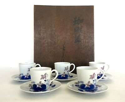 Japanese Porcelain Coffee Cups & Saucers. Signed Wood Box. Nabeshima Pottery?