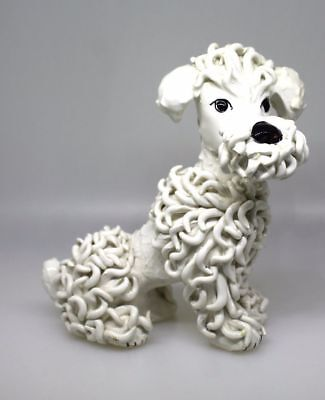 "Vintage ITALY Beautiful Spaghetti Porcelain 5"" Poodle Figurine Signed"