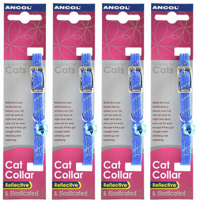 Ancol Reflective Softweave Cat Collar Blue 4 Pack Deal Elastic Safety Buckle