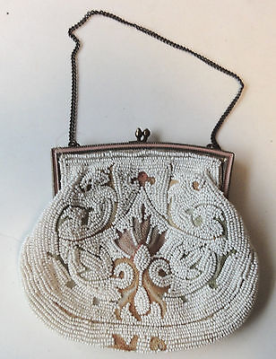 Reduced!   Vintage White Beaded & Embroidered Purse - Hand Made In France