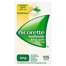 nicorette 4mg nicotine gum in fruitfusion - 105 pieces.