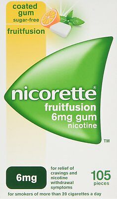 nicorette 6mg nicotine gum in fruitfusion - 105 pieces.