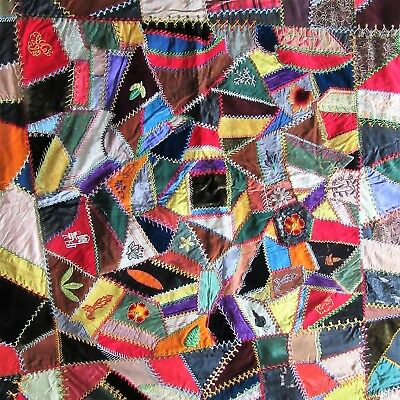 """Antique Crazy Quilt Top 23"""" Squares Silk Velvets leaf Victorian Girl Embroidery"""