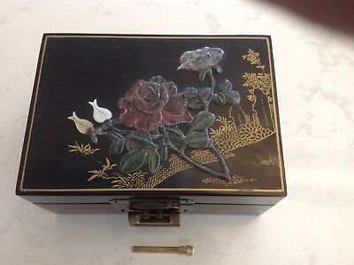 Vintage black lacquer Asian jewelry box with jade relief on lid