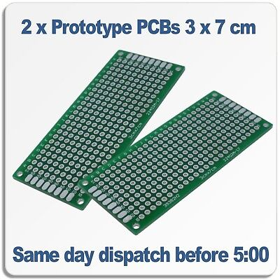 2 x Prototype Proto PCB Double Sided Universal Board 3 x 7 cm