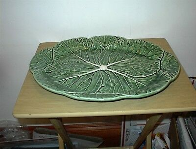 "VINTAGE Bordallo Pinheiro Green Cabbage Large 17"" X 12 3/4"" Oval Serving Platter"