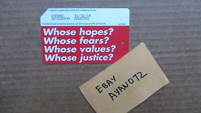 """Barbara Kruger NYC MTA Metrocard MINT No Fare """"Whose Justice?"""" limited edition"""