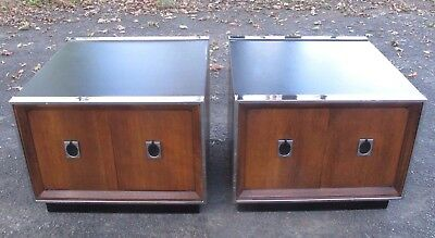 PAIR MILO BAUGHMAN STYLE WOOD & CHROME NIGHTSTANDS mid century bedside tables