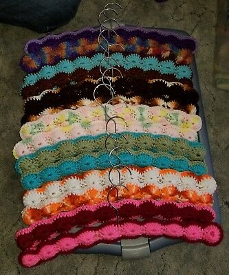 Crochet Clothes Hangers- Variegated Yarn- Mixed Colors- Wooden Lot of 14