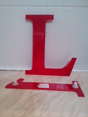 reclaimed red plastic sign lettering, letters, L