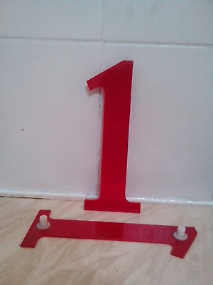 reclaimed red plastic sign lettering, letters, number 1