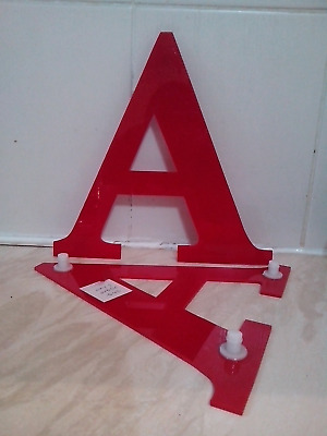 reclaimed red plastic sign lettering, letters, A