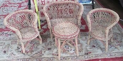 ANTIQUE/VINTAGE RARE WICKER RATTAN Woeven Rope Wrap 4-PC DOLL FURNITURE