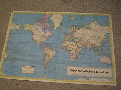 Vintage My Weekly Reader Hammond Map Of Africa + The World Map
