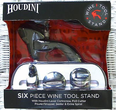 Houdini Lever Corkscrew ~ 6 Piece Wine Tool Stand, New In Box~Super Deal!