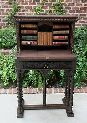 Antique French Walnut BARLEY TWIST Fall Front Secretary Desk on Stand 19th C.