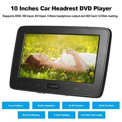 "10""LCD Screen Car Headrest DVD Player Pillow Monitor USB/HD/SD Touch Button U6L6"