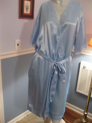 "Barbizon Light Blue Polyester Robe, Medium, 2"" Wide Lace Trim On Front, Sleeves"
