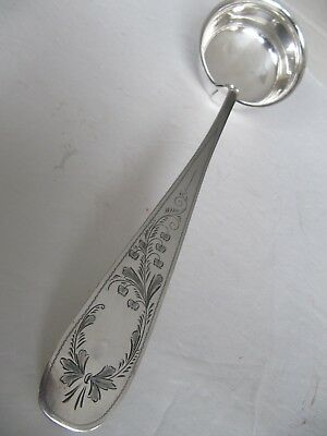 "German Early To Mid-19Th Century 800 Silver Large Soup Ladle 13.5"" Unique Nice"