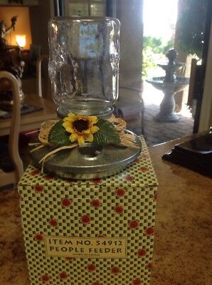 Vintage Galvanized People Feeder With Mason Jar With Chickens