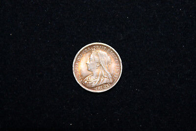 Great Britain England 1901 Queen Victoria Silver Three-Pence Last Year Of Issue!