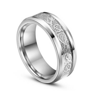 Silver Celtic Dragon Stainless Steel Titanium Men's Wedding Band Ring Size 10