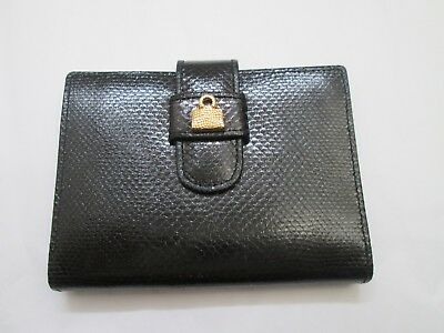 Judith Leiber Designer Black Leather Embossed Daily Organizer Case Wallet Spain