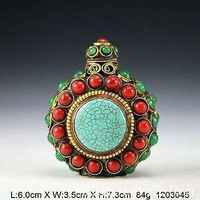 Tibetan Vintage Handwork Copper Inlay Beads Snuff Bottle