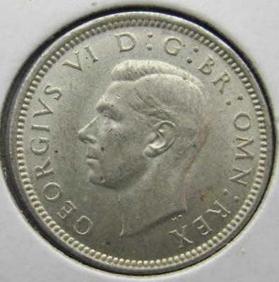 Great Britain 1942 Silver Sixpence! Almost Unc+! Km# 852! Really Nice Type Coin!