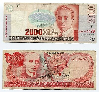 Costa Rica - Lot of 2 Notes - 2000 and 1000 Colones - Free Shipping - Lot #332