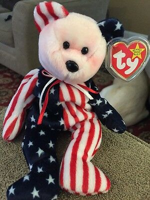 """Ty Beanie Babies Baby """"Spangle """" RED WHITE BLUE Patriotic Bear New (KC)"""